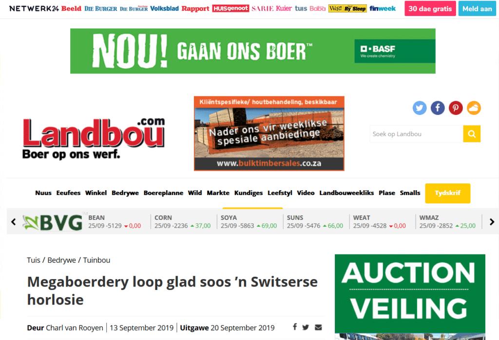 Megaboerdery loop glad soos 'n Switserse horlosie